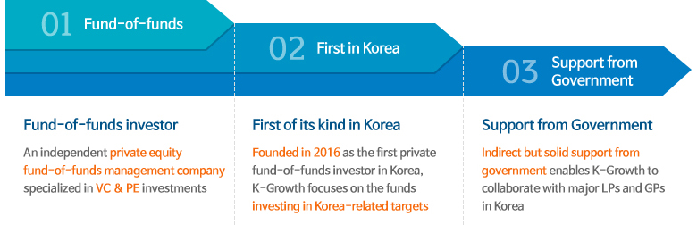 01. Fund-of-funds investor : An independent private equity fund-of-funds management company specialized in VC & PE investments